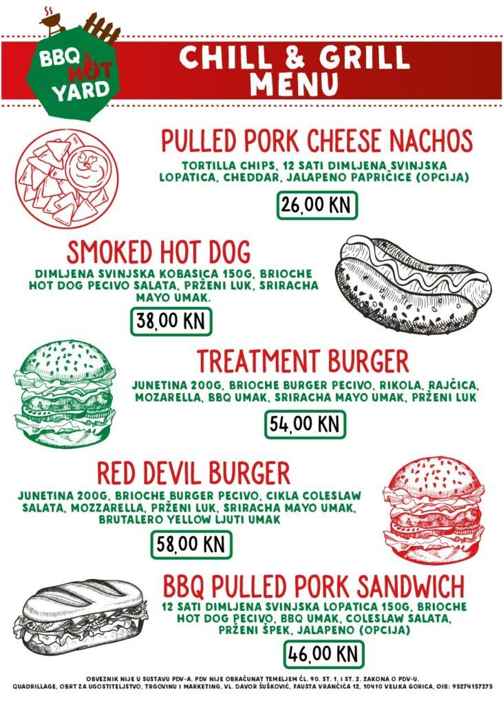 Chill & Grill menu